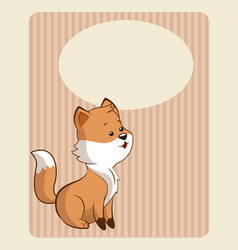 cute fox poster image vector image
