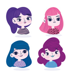 cute girls portrait cartoon character vector image