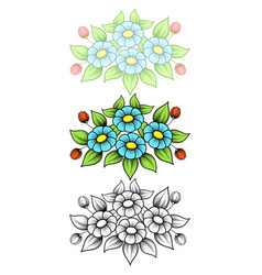 daisy flowers horizontal small vector image
