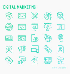 digital marketing thin line icons set vector image