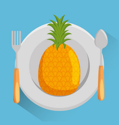dish with pineapple menu vector image