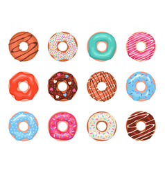 donuts doughnuts in colorful glaze kids sweets vector image