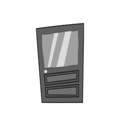 Door with glass icon black monochrome style vector image