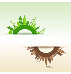 Eco and Polluted city concept vector image