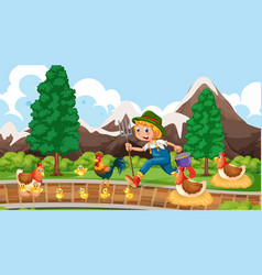 Farmer with chickens park scene vector