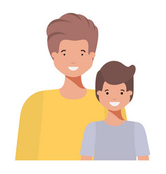 father with his son smiling avatar character vector image