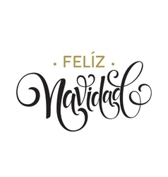 Feliz Navidad hand lettering decoration text for vector