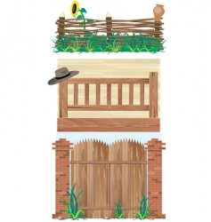 fences brick wood and wicker vector image