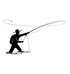 Fisherman in action guy is throwing spoon fly vector