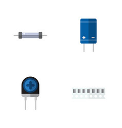 Flat icon appliance set of memory transistor vector