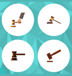 Flat icon court set of government building crime vector