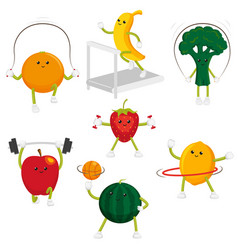funny fruit and berry characters doing sport vector image