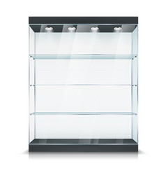Glass display showcase stand with shelf and light vector