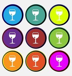 Glass of wine icon sign Nine multi colored round vector