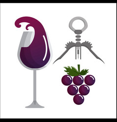 glass splashing wine grape and take out cork vector image