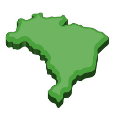green map of brazil icon cartoon style vector image