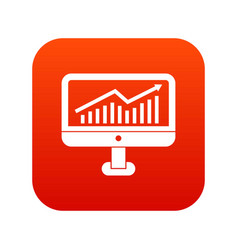 Growth graph on the computer monitor icon digital vector