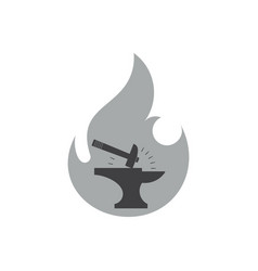 Hammer silhouette flame blacksmith symbol logo vector