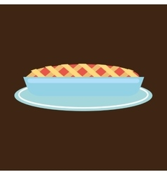 Hand holding a tray of pie vector