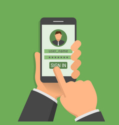 hand holding phone with sign-in page vector image