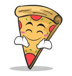 happy face pizza character cartoon vector image