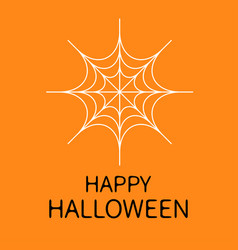 happy halloween card spider round web white vector image