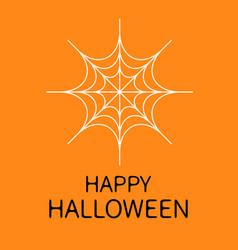 Happy halloween card spider round web white vector