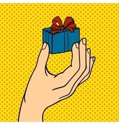 Human hand holding gift box pose signal human vector image
