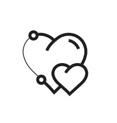 Icon heart pen tool style design vector