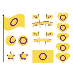 Intersex flag collection symbols hearts stars vector