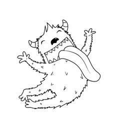 Jumping fluffy horn monster for kids coloring book vector