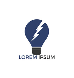 lamp bulb with lightning logo design vector image