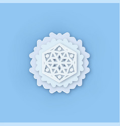 layered paper cut art snowflake icon snow vector image