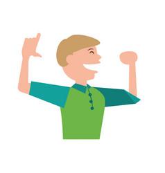 Man celebrating cartoon vector