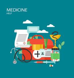 Medicine help concept flat style design vector