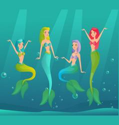 mermaids swimming flat vector image