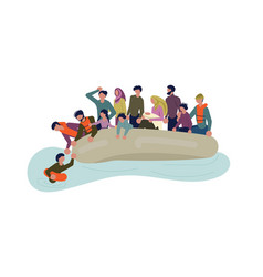 Migrant people in boat vector