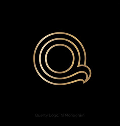 monogram q linear gold thin lines web ui icon vector image