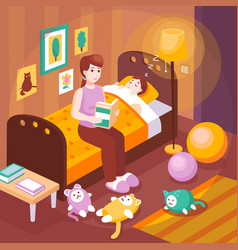 Mother reading bedtime stories vector