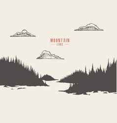 Mountain lake pine forest draw vector