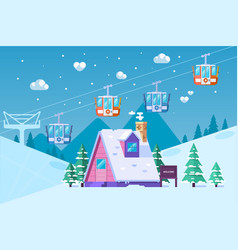 mountain ski resort in wintersnow and fun vector image
