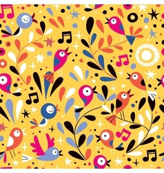 nature pattern with cute cartoon birds vector image