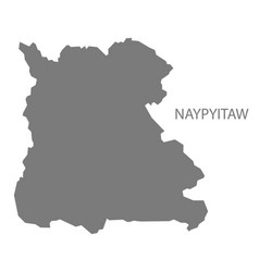 Naypyitaw myanmar map grey vector