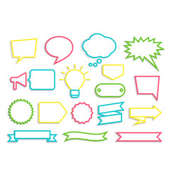 Olorful contoured speech bubbles badges ribbons vector