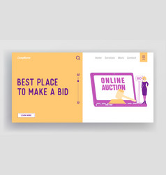 Online auction business landing page template vector
