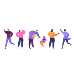 People in various poses flat vector