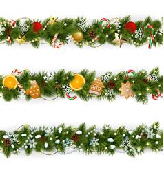 pine christmas border vector image