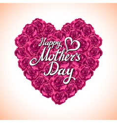 Pink rose mother Day Heart Made of purple Roses vector