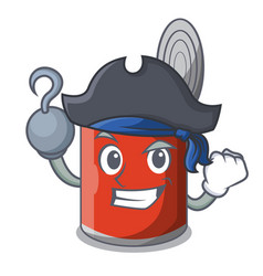 Pirate character canned food isolated on cartoon vector