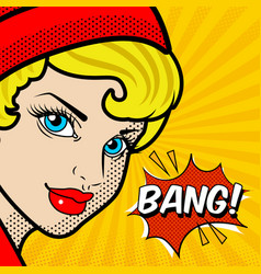 pop art woman speech bang image vector image